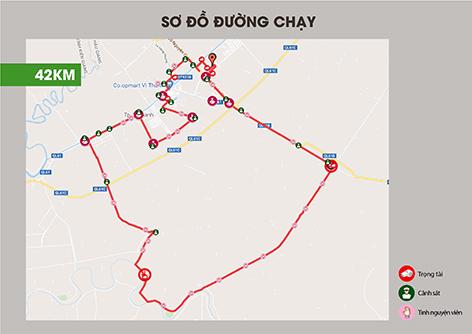 """Sơ đồ đường chạy của giải """"Mekong Delta Marathon"""" Hậu Giang 2020"""